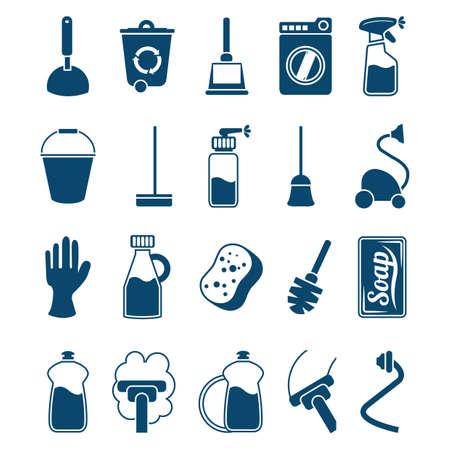 Huishoudelijke schoonmaakartikelen iconen Stock Illustratie