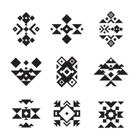 アステカのデザインのアイコン セット