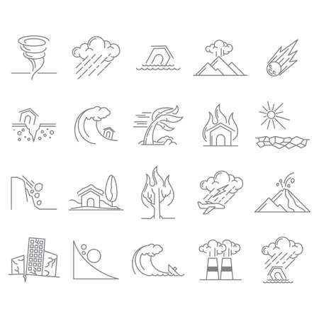 Set of natural disaster icons Stock Vector - 77299688