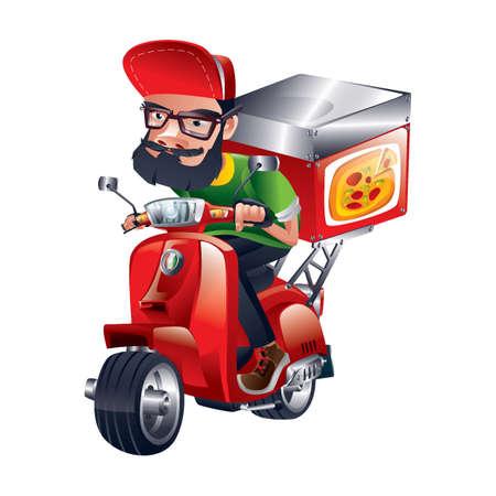 Pizza bezorging Stock Illustratie