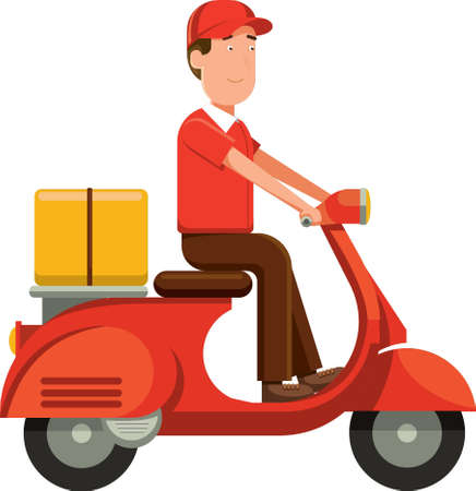 delivery man on scooter