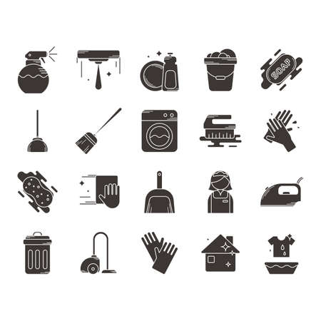 Collection of household cleaning icons
