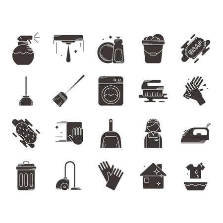 Verzameling van huishoudelijke schoonmaak iconen Stockfoto - 77299879