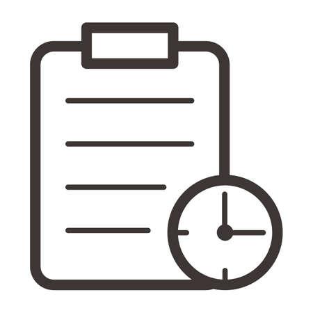 時計とクリップボード  イラスト・ベクター素材
