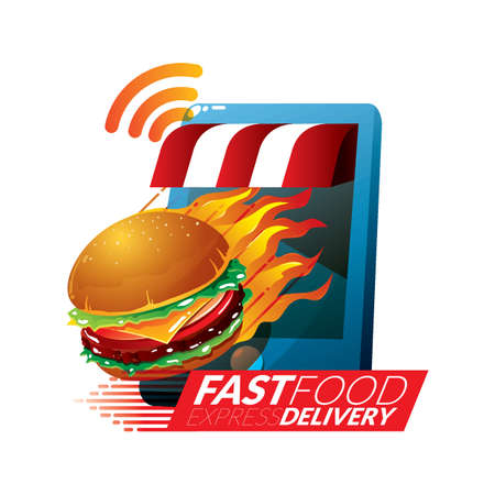 fast food delivery concept 向量圖像
