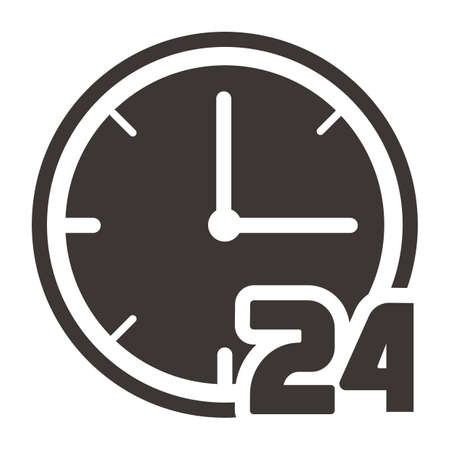 Clock with 24 hour icon Illustration