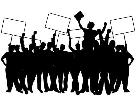 Crowd with placards Иллюстрация