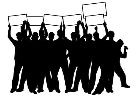 disorganized: crowd with placards Illustration