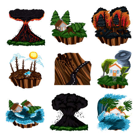 set of natural disaster icons Ilustrace