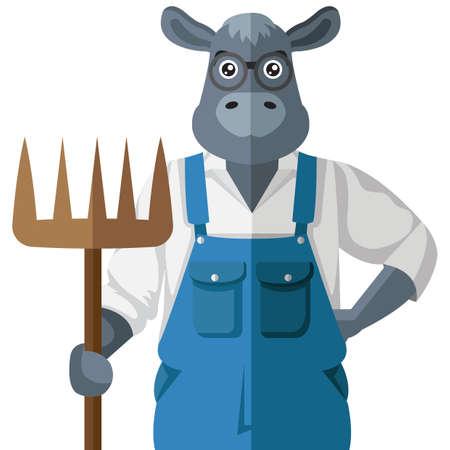 牛のキャラクター  イラスト・ベクター素材