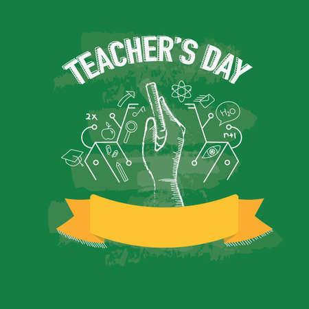 glücklich Lehrer Tagesentwurf Vektorgrafik