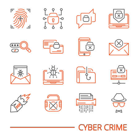 サイバー犯罪のアイコンのセット  イラスト・ベクター素材