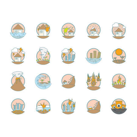 set of natural disaster icons Illusztráció