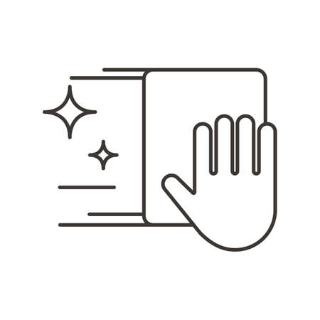 wiping: hand with wiping cloth Illustration