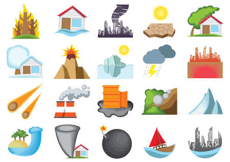 happenings: set of natural disaster icons Illustration