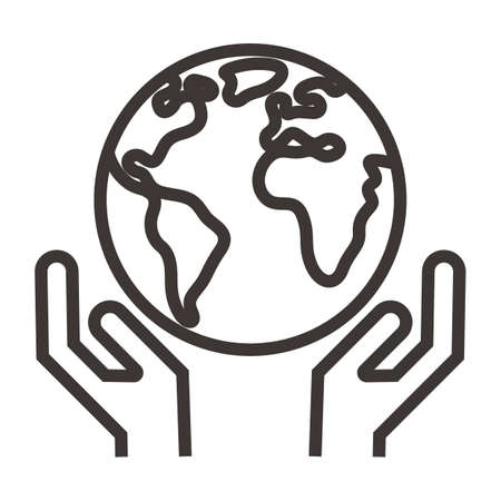 global concept with hand gesture Illustration