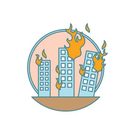 Buildings on fire.