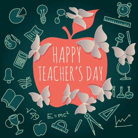 Het ontwerp van de gelukkige lerarendag. Vector Illustratie