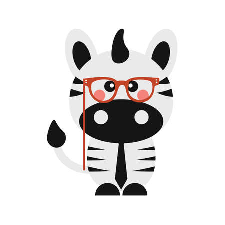 cute zebra with glasses and tie