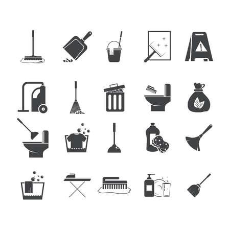 Set von Reinigungs-Icons Standard-Bild - 77246072