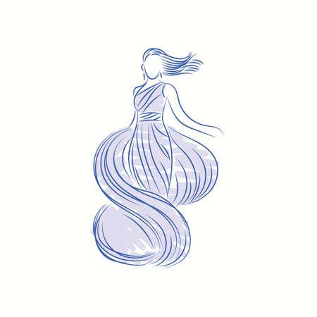fashion model in elegant dress sketch