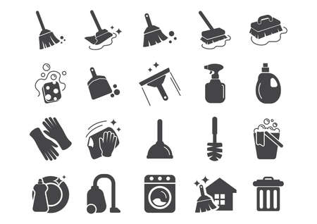 set of cleaning tools icons