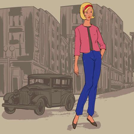 市内のファッション モデル  イラスト・ベクター素材