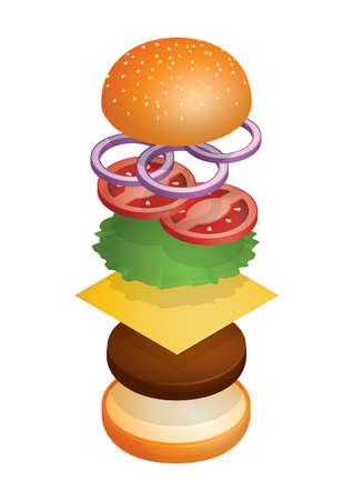 tossed cheeseburger Illustration