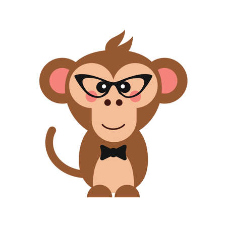 omnivorous: cute monkey with glasses and bow tie Illustration