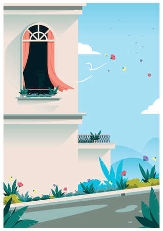windy day in spring Illustration