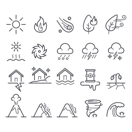Collection of disaster icons Çizim