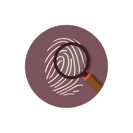 虫眼鏡で親指の指紋