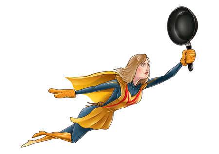 superheld moeder Stock Illustratie
