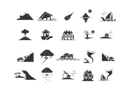 Set van natuurramp iconen Stock Illustratie