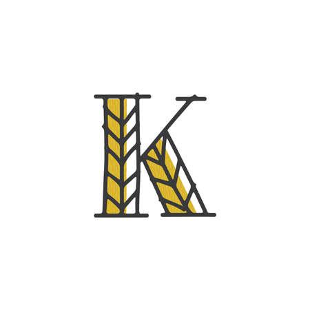 Lettre k avec la conception de grains bio Banque d'images - 80145886