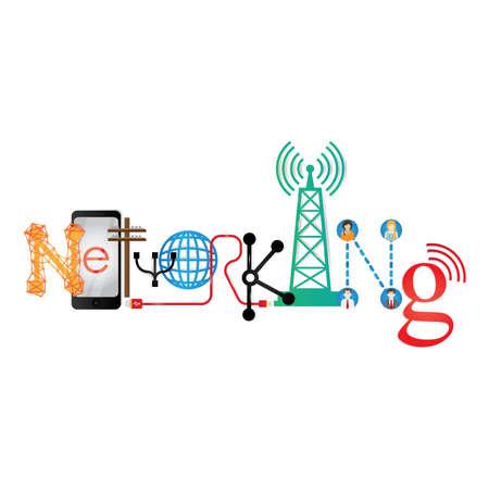 networking lettering design Çizim