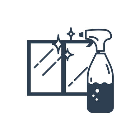 cleaning spray bottle and window
