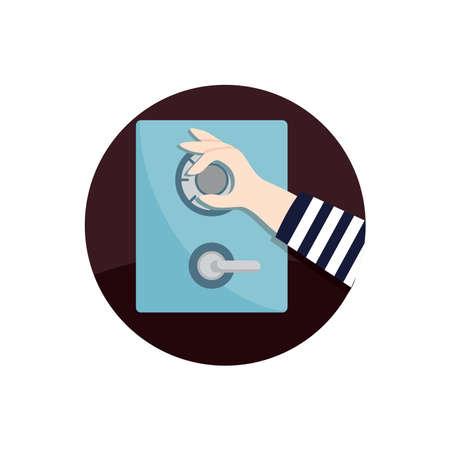 man cracking safe icon Ilustração
