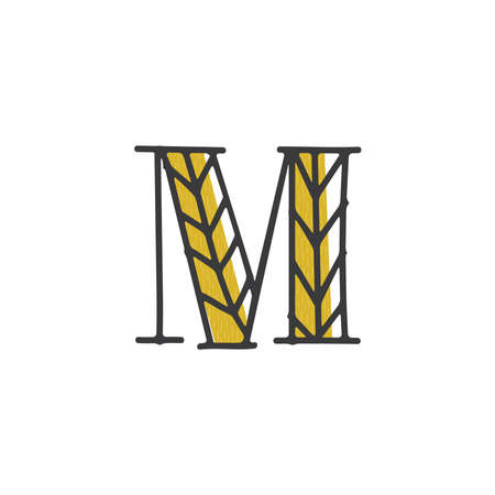 letter m with organic grain design