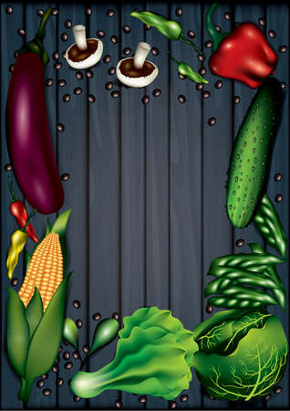 vegetables layout with copyspace Illustration