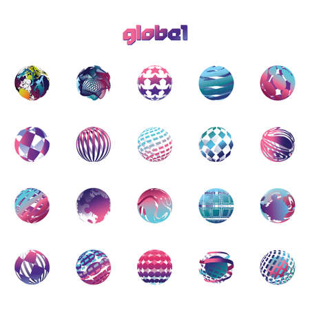collection of globe logo elements