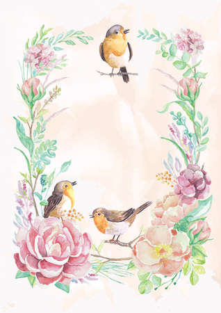 birds and flowers frame design