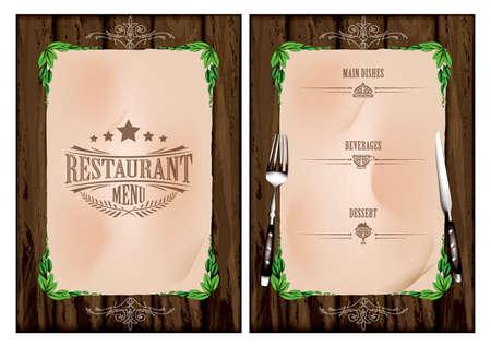 main dishes: restaurant menu concept Illustration