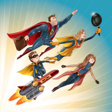 Super familie concept Stock Illustratie