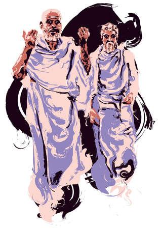 Indiase monnik Stock Illustratie