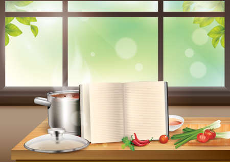 stockpot: cookware with cookbook and ingredients Illustration