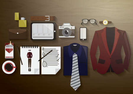 flatlay of stylish attire