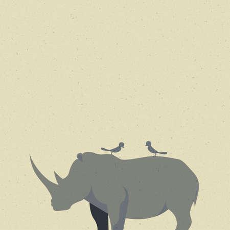 새들은 코뿔소에 쉬고있다. 일러스트