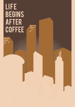 커피 디자인 후 삶이 시작됩니다. 일러스트