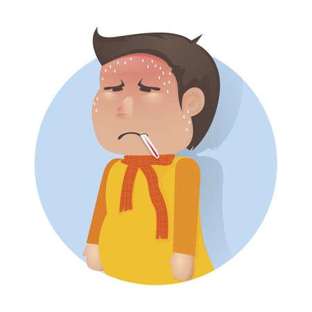 Chico humano con el concepto de fiebre Foto de archivo - 79152113